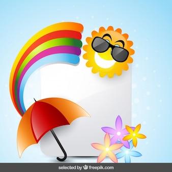 Tarjeta con sol, arco iris, paraguas y flores