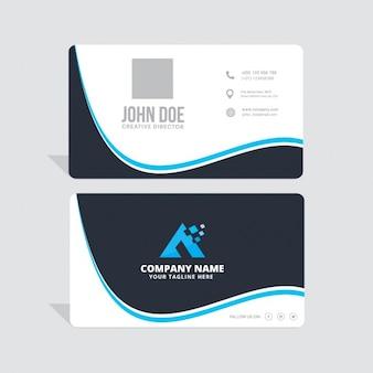 Tarjeta corporativa azul con formas onduladas