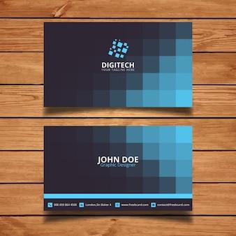 Tarjeta corporativa con cuadrados azules