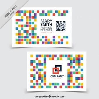 Tarjeta corporativa con cuadrados coloridos