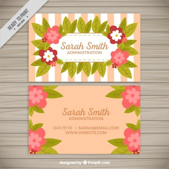 Tarjeta corporativa con flores y rayas