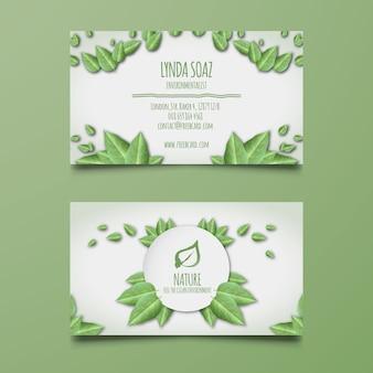 Tarjeta corporativa con hojas verdes