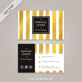 Tarjeta corporativa con rayas doradas