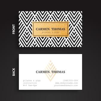 Tarjeta corporativa elegante con detalle dorado