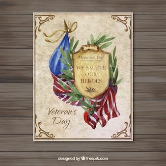 Tarjeta de acuarela del día de veterano de estados unidos