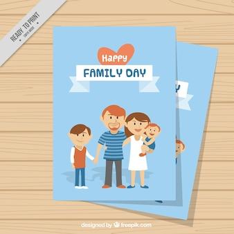 Tarjeta de adorable familia unida