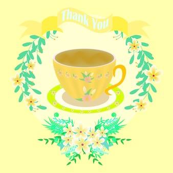 Tarjeta de agradecimiento amarilla con taza