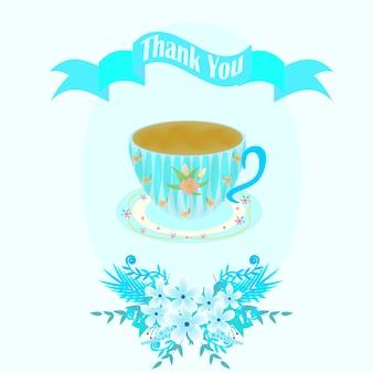 Tarjeta de agradecimiento azul con taza