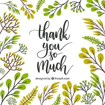 Tarjeta de agradecimiento con diseño floral