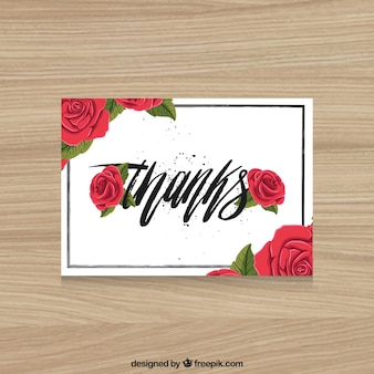 Tarjeta de agradecimiento con rosas