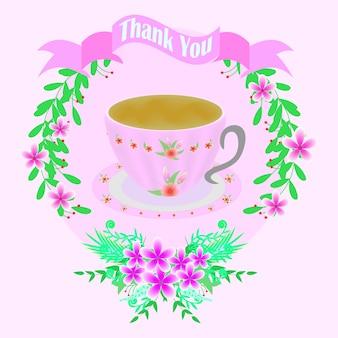Tarjeta de agradecimiento rosa con taza