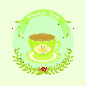 Tarjeta de agradecimiento verde con taza