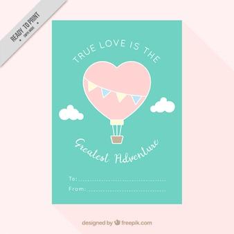 Tarjeta de amor de globo con forma de corazón