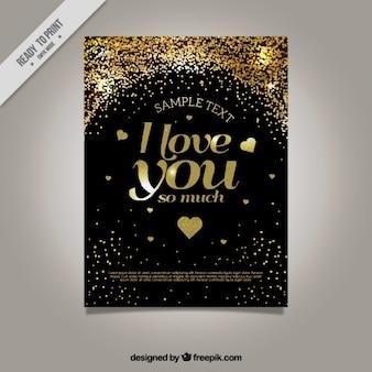 Tarjeta de amor dordada con corazones y confeti