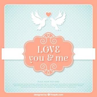Tarjeta de amor vintage con palomas adorables