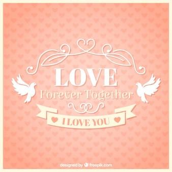 Tarjeta de amor vintage con palomas