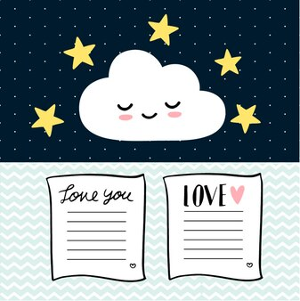 Tarjeta de amor y nube linda