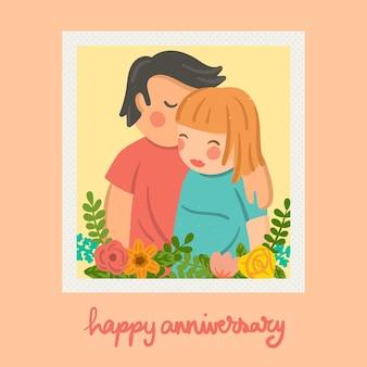 Tarjeta de aniversario de dulce beso