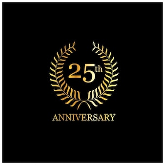 Tarjeta de aniversario de lujo con un 25 dorado