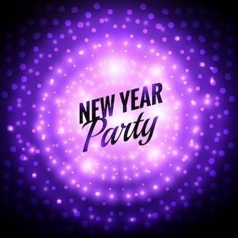 Tarjeta de año nuevo con luces moradas