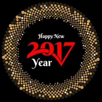Tarjeta de año nuevo con puntos de semitono dorados