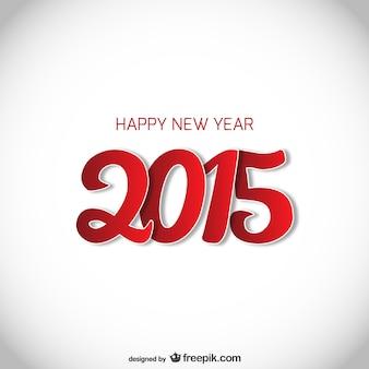 Tarjeta de año nuevo en rojo y blanco