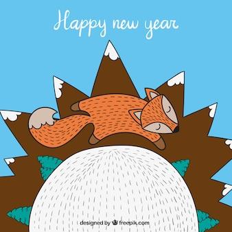 Tarjeta de año nuevo linda con un zorro