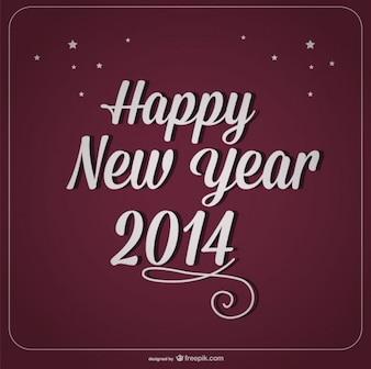 Tarjeta de año nuevo sobre fondo violeta
