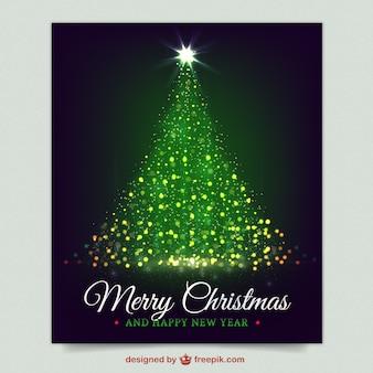 Tarjeta de árbol de navidad brillante en color morado