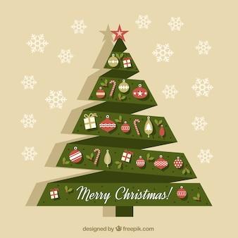 Tarjeta de árbol de navidad de origami con adornos