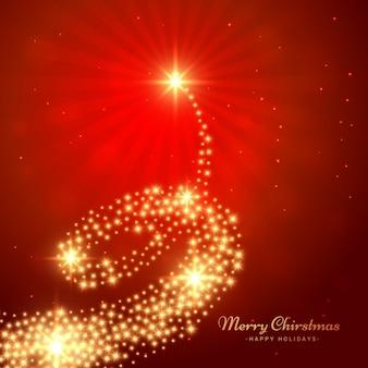 Tarjeta de árbol de navidad dorado