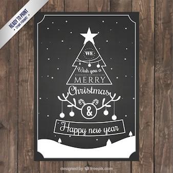 Tarjeta de árbol de navidad en estilo retro