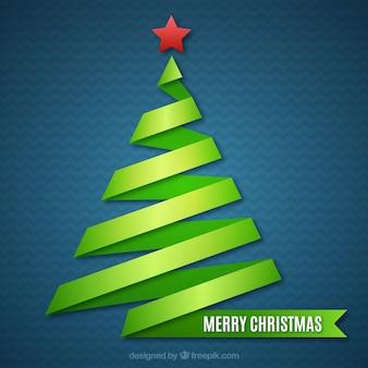 Tarjeta de árbol de navidad verde abstracto