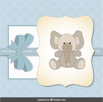 Tarjeta de Baby Shower azul con adorable elefante