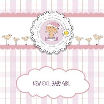 Tarjeta de baby shower con pequeña niña