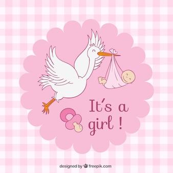 Tarjeta de Baby Shower de cuadros rosas