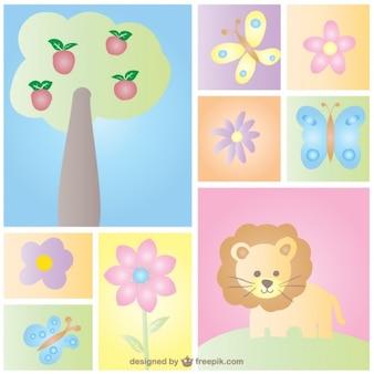 Tarjeta de bebé con dibujos de la naturaleza