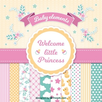Tarjeta de bienvenida de bebé para chica