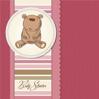 Tarjeta de bienvenida de bebé con lindo oso de peluche