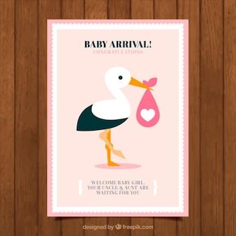Tarjeta de bienvenida de bebé de adorable cigüeña