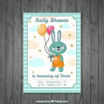 Tarjeta de bienvenida de bebé de conejito adorable con globos