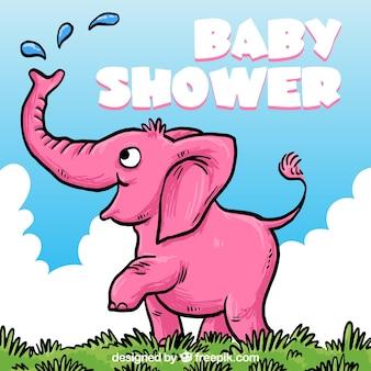 Tarjeta de bienvenida del bebé dibujada a mano con un elefante rosa