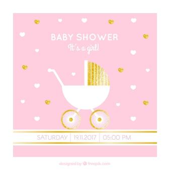 Tarjeta de bienvenida del bebé con cochecito y detalles dorados