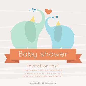 Tarjeta de bienvenida del bebé con elefantes