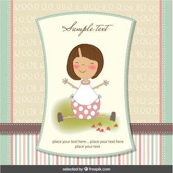 Tarjeta de bienvenida del bebé con niña adorable en colores pastel