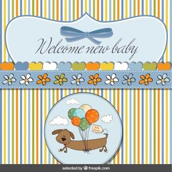 Tarjeta de bienvenida del bebé con perro con globos
