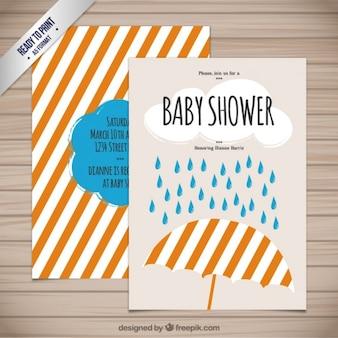 Tarjeta de bienvenida del bebé con un paraguas