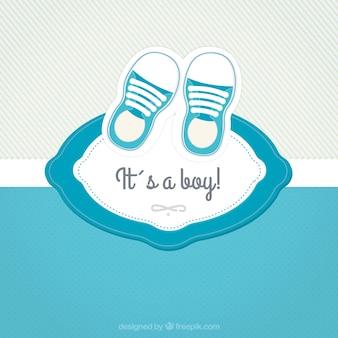 Tarjeta de bienvenida del bebé con zapatos