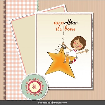 Tarjeta de bienvenida del bebé en tonos pasteles con una estrella y una niña
