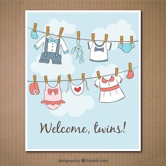 Tarjeta de bienvenido gemelos